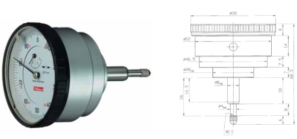 Abbildung: Messuhr M10/5 R mit rückwärtigem Messbolzen 0 - 5 mm (Das Bild kann vom Original geringfügig abweichen.)