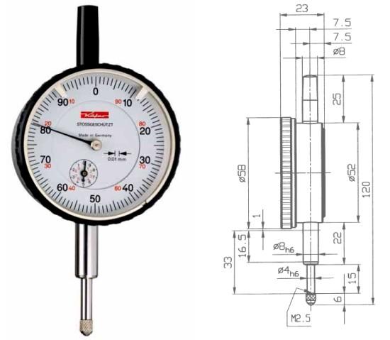 Abbildung: Messuhr M2S 0 - 10 mm (Das Bild kann vom Original geringfügig abweichen.)
